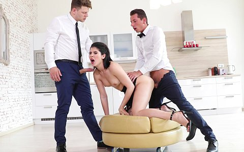 Lady Dee takes one two studs at once in this double penetration scene