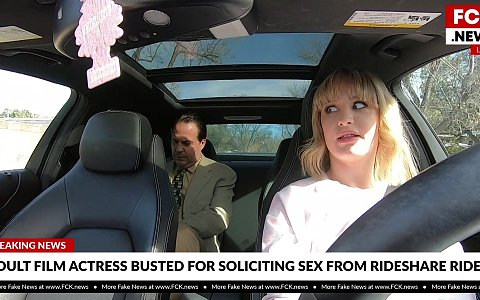 Daisy Stone drives rideshare and picks up her passenger with her pussy